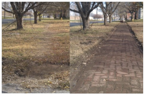 East Lawrence Sidewalk Cleaning before and after shot
