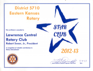 2012-2013 District 5710 Star Award Presented to Lawence Central Rotary