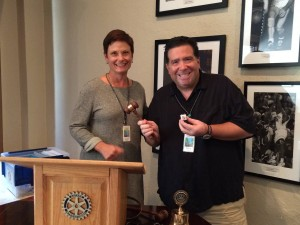 Symbolic passing of the gavel to new Lawrence Central President Carolyn DeSalvo